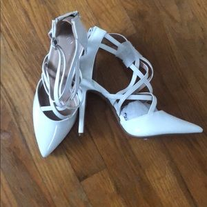 White strapped pointed heels